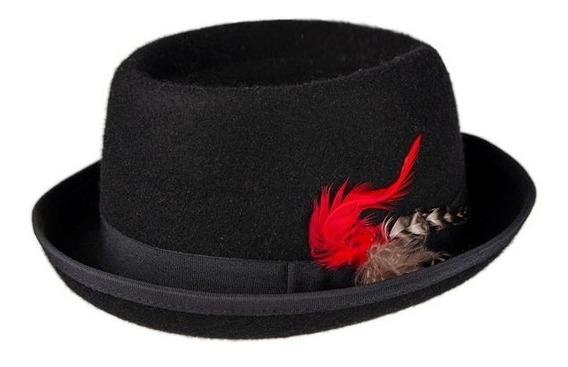 Sombrero Gardelito Con Cinta Razo Y Pluma