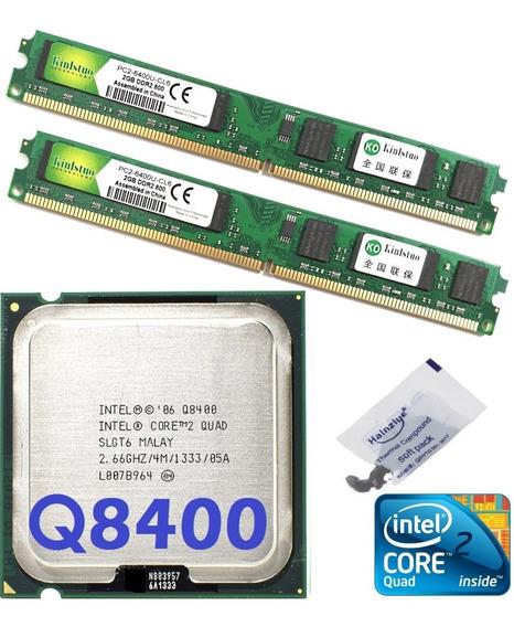 Kit Cpu Core 2 Quad Q8400 2,66ghz + Memória 4gb Ddr2 800mhz