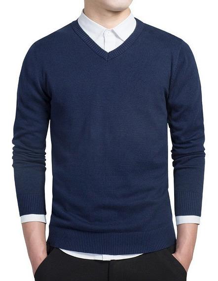 Suéter Blusão Masculino Básico Decote V
