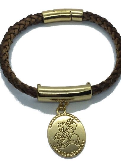 Pulseira Feminina De Couro Trançado C/ Medalha De São Jorge