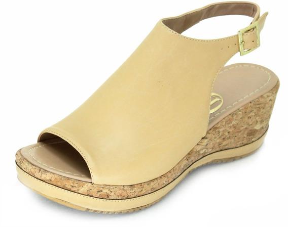 Sapatos Femininos Anabela Fio De Ouro 7029 Vegetal Areia