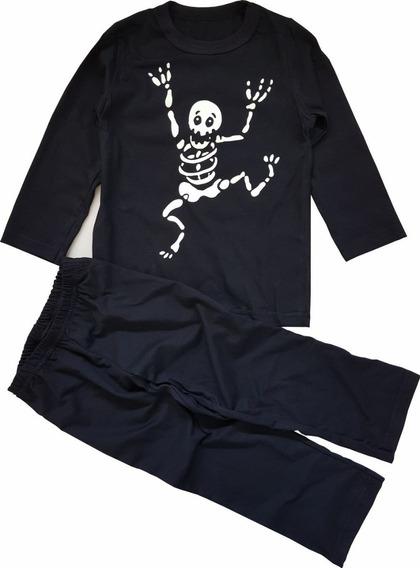 Pijama Infantil - Caveira Brilha No Escuro