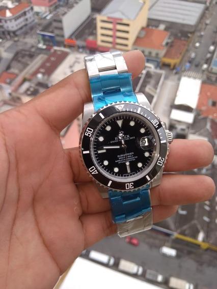 Relógio Masculino Prata Com Fundo Preto Submariner