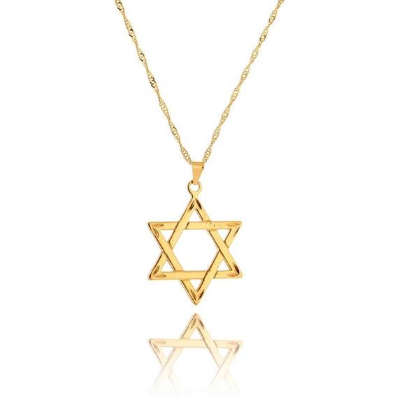 Corrente Folheada Em Ouro Com Pingente Estrela De Davi