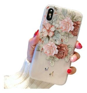 Funda Huawei Flores Textura Slim Dama