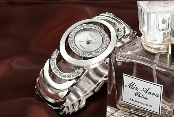 Relógio Feminino Dourado Prata Original Luxo Estojo Promoção