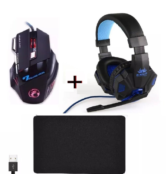 Kit Mouse Gamer Usb + Mouse Pad+ Fone Headset Pro 7.1 Pc +nf