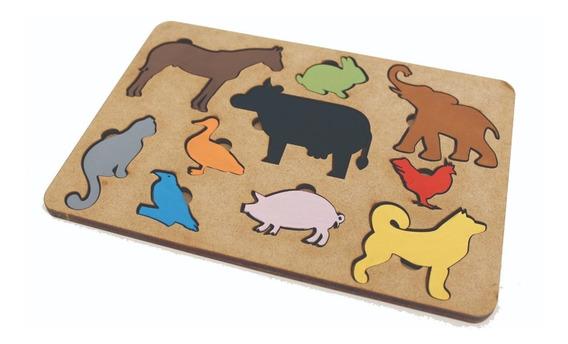 Brinquedo Tabuleiro Animais Educativo Pedagógico Mdf