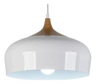 Colgante Gourmet 1 Luz Moderno Madera Aluminio Diseño
