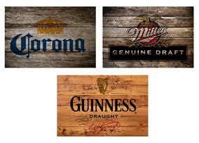 3 Quadros Madeira Rústico Cervejas Corona Miller E Guinness