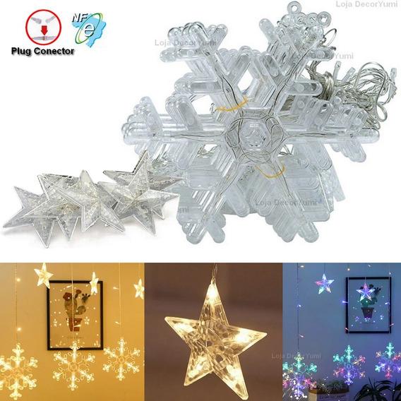 Cascata 138 Led Natal Neve Estrela Decoração 8 Funções Veja!