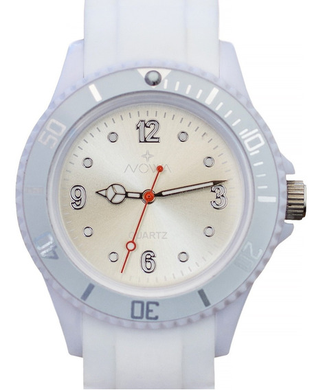 Relógio Nowa Feminino Borracha Nw0520bk Branco Original