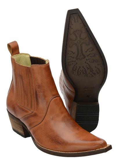 Botina Bico Fino Atron Shoes Em Couro Legítimo
