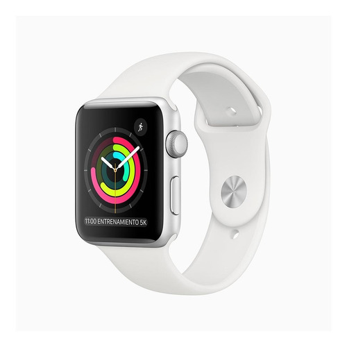 Imagen 1 de 6 de Apple Watch  Series 3 (GPS) - Caja de aluminio plata de 42 mm - Correa deportiva blanco