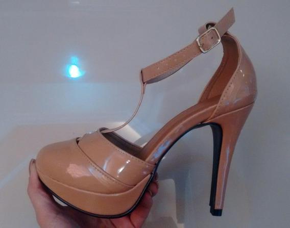 Sapato Feminino Preto Verniz Salto Fino Mega Pata 15 Cm