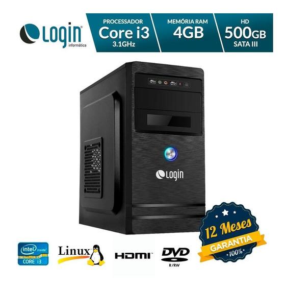 Computador Desktop Login Intel Core I3 4gb Ram 500gb Hd