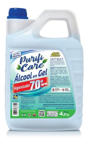 Purificare Álcool 70 Em Gel  Bombona Galao 4,2 Kg Não Meleca