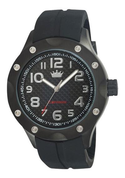Relógio Masculino Carmim Preto Borracha Original Crm38111