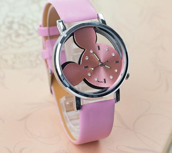 Relógio Mickey Vazado Rg007f Pulseira Rosa Promoção!!!