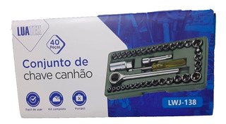 Jogo Kit Chave Soquete Canhão Aço Catraca 40 Pçs