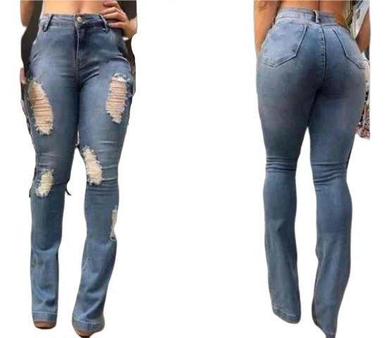 Calça Jeans Flare Rasgadinha Clara Modela O Corpo Temos Plus