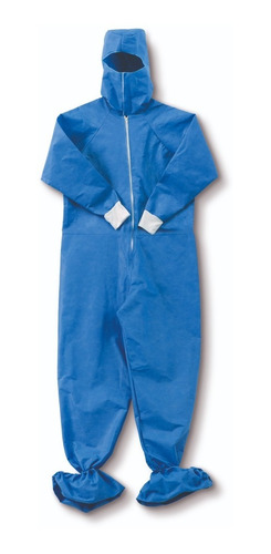 Overol Desechable Azul Con Escafandra (paquete 10 Unidades)