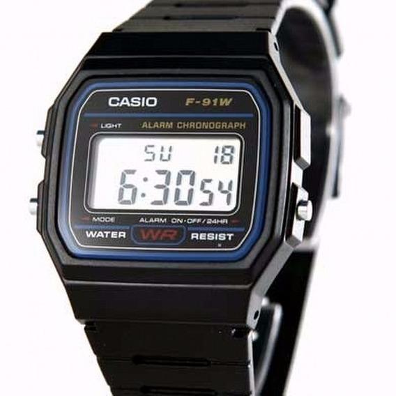 Relógio Casio Preto Original F91w Com Caixa Unissex