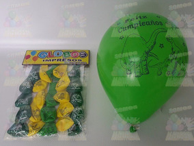 50 Globos Latex + 20 Banderines Dinosaurios Jurassic World