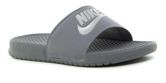 Ojotas Nike Benassi Jdi Gunsmoke Methallic Silver - Hombre