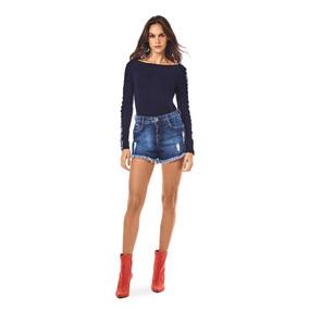 Shorts Morena Rosa Five Pockets Detalhe Galao Jeans