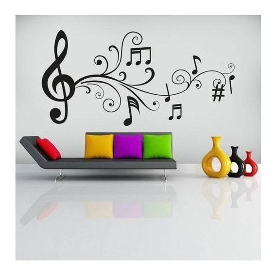 Notas Musicales Musica Habitacion Vinilo Decoración 60x40