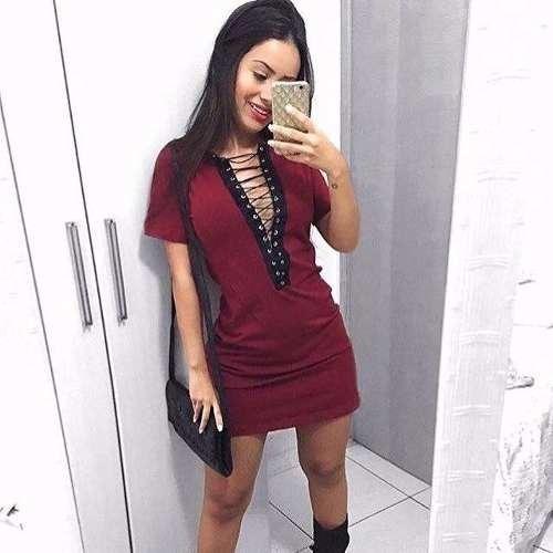Vestido Curto Ilhós Viscolycra Roupas Femininas Da Moda