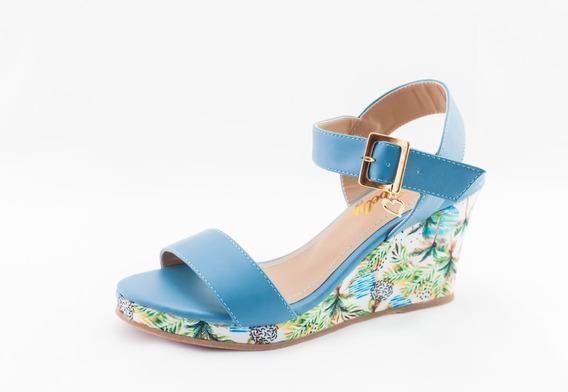 Sandália Anabela Debelly Salto Médio Aberta Azul C/ Floral