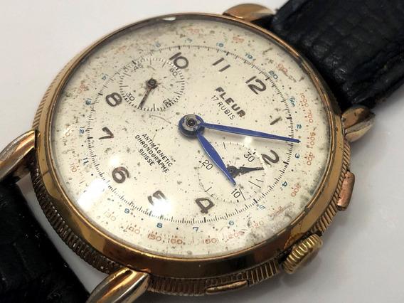 Relógio Fleuer Vintage Chonógrafo 40mm Precisa De Revisão