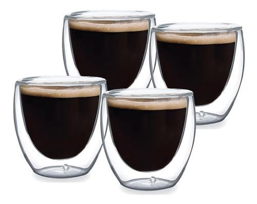 Imagem 1 de 3 de Xícara De Café 4 Copos Parede Dupla Vidro 240ml Café Chá Bar