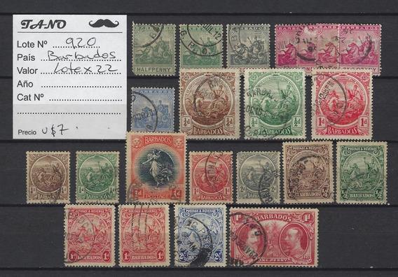 Lote920 Barbados Lote De 22 Estampillas Antiguas