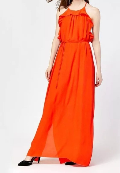 Vestido Largo Crepe Color Naranja