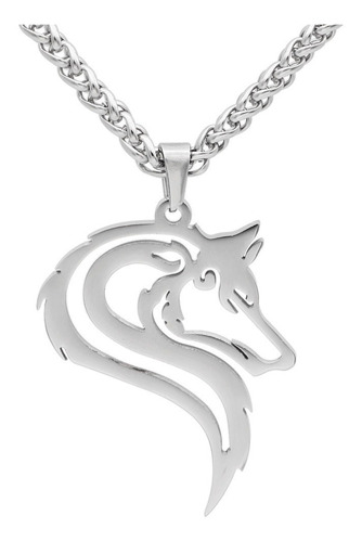 Collar Acero Inoxidable Vikingo Lobo Nórdico Amuleto Hombre