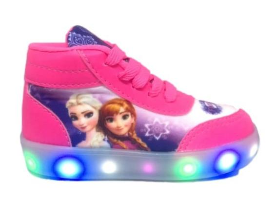 Tenis Botinha Led Luz Frozen Feminino Infantil Luzes Brilham