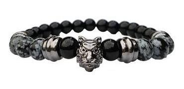 Pulseira Masculina Feminina Pedras Obsidiana E Onix Tigre