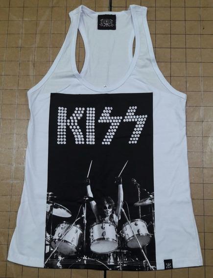 Camiseta Kiss Feminina Regata Branca Drums Chemical Cfr234