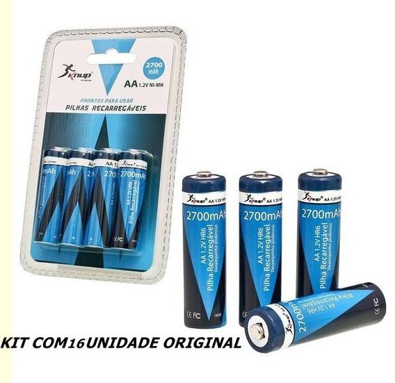 Pilhas Recarregáveis Knup Aa 2700mah Original Kit Com16 Unid