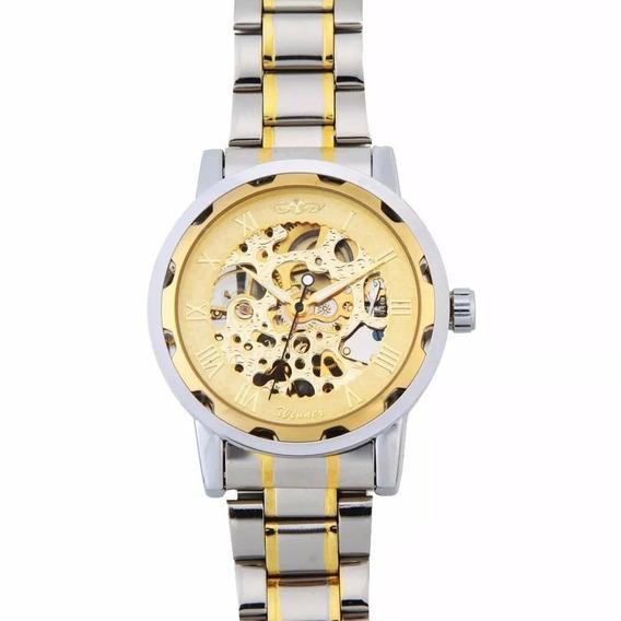 Relógio Masculino Esqueleto Winner Pulseira Aço Inoxidável
