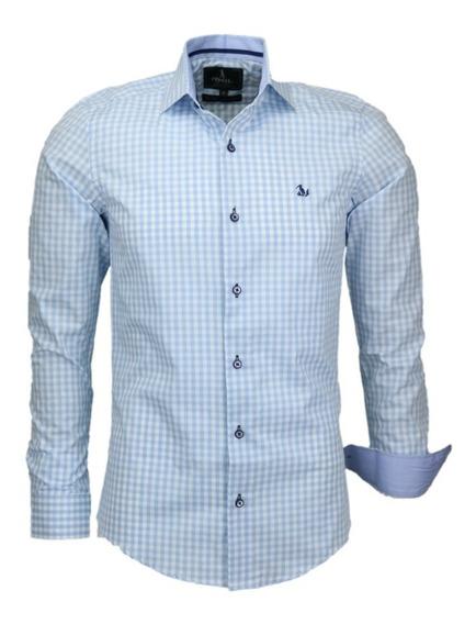 Kit Atacado 4 Camisas Masculina Lumier Xadrez Slim M Longa