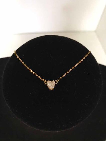 Cordão Ouro18k/750 (2,8g) C/zircônia Coração Grande