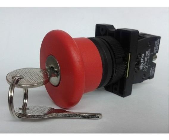 Botão Cogumelo Lay5-es Cabeçote 40mm Com Chave