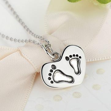 Colar Charm Europeu Em Prata 925 Pezinhos Heart Mom