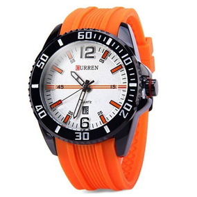 Relógio Masculino Curren 8178 Analógico Laranja Com Nf