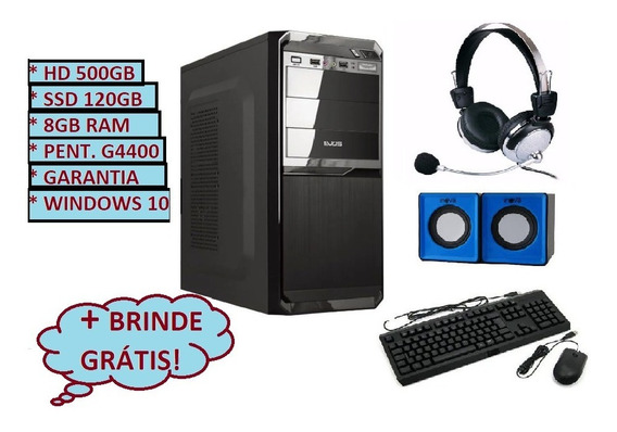 Cpu Computador Hd 500gb Ssd 120gb Pentium G4400 + 8gb Ddr3