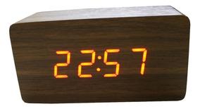 Relógio Digital Madeira 12.5 X 6.5 X 4.5 Cm Hora Temperatura